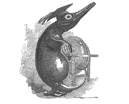 An ink illustration of a Victorian-style Ichthyosaurus. It's standing up straight on its back fins, defying physics. It's slumped forward and its head points up and forward. It has a big wrinkly smile exposing its sharp teeth. It has a big round belly, and it's wearing a feathered graduation cap, standing in front of a globe.