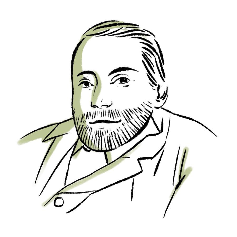 Digital lineart illustration of the bust of George Dawson. He wears a simple suit, and has neat hair and a beard. His posture is hunched, due to the curvature of his spine. He is slightly smiling.